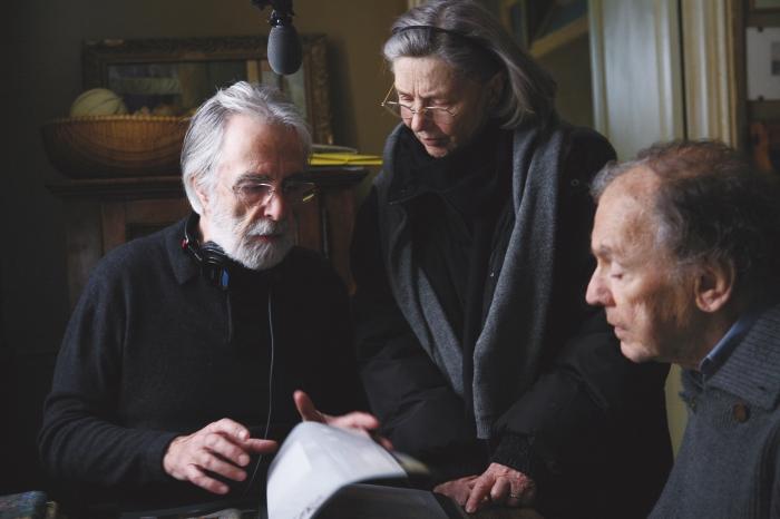 Michael Haneke con Emmanuelle Riva y Jean Louis Trintignant